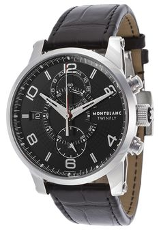 Montblanc Men's Timewalker Twinfly Auto Chrono Black Genuine Alligator and Dial - Watch 105077,    #Montblanc,    #105077,    #WatchesLuxuryAutomatic
