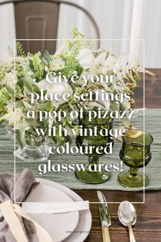Adding a touch of vintage to your wedding head table is so easy with coloured glasswares, and it doesn't have to be a theme! Read the blog for more! Wedding Themes, Wedding Vendors, Wedding Designs, Wedding Events, Wedding Decorations, Weddings, Vintage Theme, Vintage Colors, Head Table Wedding