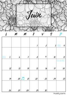 Calendrier - Juin 2017 - Imprimes le calendrier pour customiser ton agenda! A VOIR : ma vidéo sur youtube