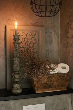 Look inside at Harmke - De Wemelaer - Toilet wooden tray toilet roll candlestick - Bohemian Living Rooms, Bohemian Decor, Living Room Decor, Industrial Chic Decor, Rustic Decor, Rustic Toilets, Toilet Accessories, English Decor, Interiors