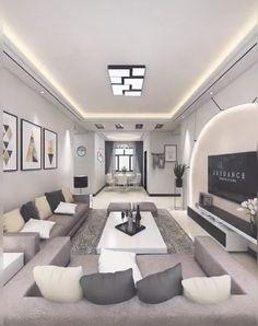 home decor videos Ceiling Design Living Room, Home Room Design, Small House Design, Home Design Plans, Modern House Design, Living Room Designs, False Ceiling Living Room, Elegant Living Room, Modern Living