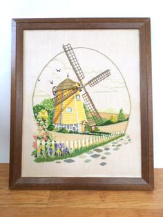 Vintage Hand-Embroidered Crewel Wall Art, Early 1980s Vintage Hand-Embroidered Windmill Landscape by TheEternalKnot on Etsy