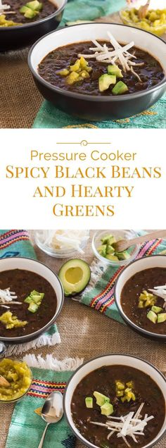 Spicy black beans and hearty greens made in a pressure cooker are radiating with warm intoxicating flavor. They are a cross between soup andchili perfectly spiced with smoky chipotle chiles mild tomatosalsa and green chiles and rounded out with an Pressure Cooking Today, Pressure Cooking Recipes, Best Pressure Cooker, Instant Pot Pressure Cooker, Slow Cooker, Side Dish Recipes, Soup Recipes, Thm Recipes, Recipies