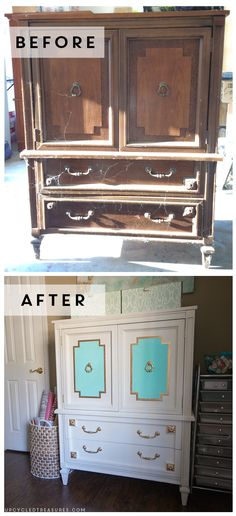 WOW check out the Before and After photos of this Upcycled Armoire that was found for $30 at the thrift shop! Upcycledtreasures.com