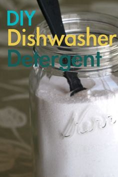 """For 1 cup Dishwasher Detergent: 2/3 C washing soda, 3 T borax, 1 T each citric acid and kosher salt.  (For cleaning whites """"recipe"""" on another pin).  If going to store, add a t. of rice, (helps when you shake it to break up clumps from citric acid) and shake well before using. Store in pint mason jar so you have  shaking room.  Use 1 T per load"""