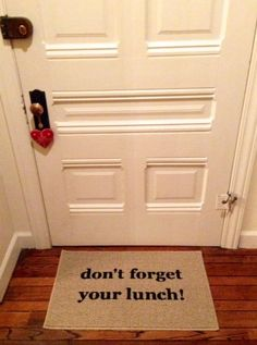 Don't Forget Your Lunch! Door Mat / Area Rug Hand Painted 18x30, Funny Door Mat, Kids Door Mat
