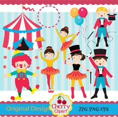 Circus Clip Art, Circus boys and girls clip art,Carnival Clip Art 02-Personal and Commercial Use-paper crafts,card making,scrapbooking