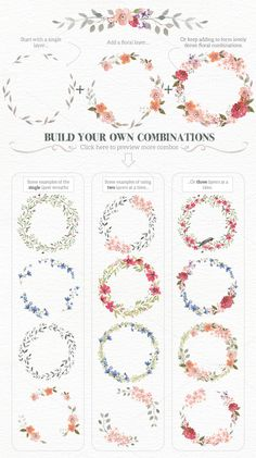 Drawing On Creativity Watercolour Wreath Creator by Lisa Glanz on Creative Market Wreath Watercolor, Watercolor Flowers, Watercolor Paintings, Watercolor Wedding, Calligraphy Watercolor, Watercolor Border, Painting & Drawing, Wreath Drawing, Hand Lettering