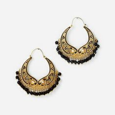 Black Onyx Pisces Hoop Earrings by ISHARYA Jewelry
