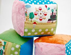 Soft Baby Blocks - Minky, Cotton, Flannel. Maybe make one side crinkly or add a rattle.