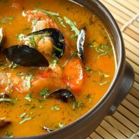 Creamy seafood soup with clams