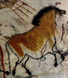 Horse from the ancient painted caves of Lascaux.