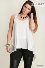 High Low Tank Top with Contrast Fabric Looks Great Alone or Paired with Our Curvy Open Cardigan Color: Off White...