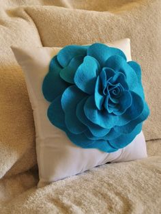 Decorative Pillow  Turquoise Rose on White Pillow by bedbuggs, $31.00