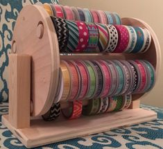 Sew Craft Image of Washi/Ribbon Combo Wheel - **International Customer: please email us for a shipping quote before completing your order.** Our new Washi Tape Rack is a great way to. Sewing Room Organization, Craft Room Storage, Craft Rooms, Ribbon Organization, Organizing Ideas, Organizing Clutter, Craftroom Storage Ideas, Craft Ribbon Storage, Washi Tape Storage