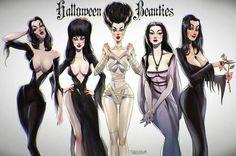 Vampira, Elvira, Bride of Frankenstein, Lily Munster & Morticia Addams Halloween Horror, Halloween Art, Halloween Photos, Vintage Halloween, Happy Halloween, Horror Art, Horror Movies, Horror Drawing, Funny Horror