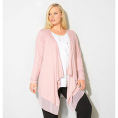 Avenue Plus Size Draped Chiffon Trim Cardigan ($25) ❤ liked on Polyvore featuring tops, cardigans, light pink, plus size, white long sleeve cardigan, long sleeve tops, women's plus size tops, long sleeve cardigan and long draped cardigan