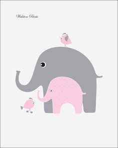Nursery art, pink and gray elephant childrens art, kids wall art for girls room, print of the month, bird, kids wall art, wall decor.