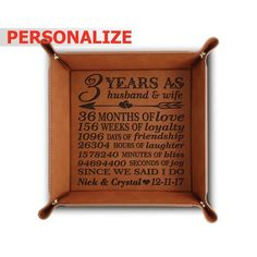PERSONALIZE-3 years as husband and wife- 3-years Anniversary gift-Traditional Wedding Leather Tray 3rd Anniversary Gift-Engraved Leather#3rd #3years #anniversary #giftengraved #gifttraditional #husband #leather #personalize3 #tray #wedding #wife #years Leather Tray, Leather Gifts, Loyalty Day, Engraved Picture Frames, 3rd Year Anniversary Gifts, Traditional Anniversary Gifts, Gift Box Packaging, Traditional Wedding, 3 Years