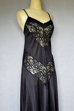 vintage lingerie / 70s black lace nightgown by bitterrootvintage, $40.00