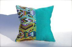 Handmade pillow 15x15  Maya Guatemalan textile teal by WovenRivers