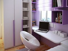 10 Tips on Small Bedroom Interior Design clean cozy atmosphere white interior design space saving solution modern design modern desk and chair Small Bedroom Interior, Small Bedroom Designs, White Interior Design, Small Room Design, Small Room Bedroom, Kids Room Design, Home Design, Living Room Designs, Bedroom Decor