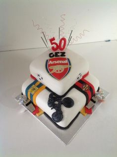 50th cake for a mountain bike riding, junior footie ref arsenal fan!!