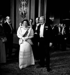 The Queen and Edward Heath 3 Jan 1973    The Queen, Prime Minister Edward Heath and the Duke of Edinburgh (centre, background) in the foyer of the Royal Opera House, Covent Garden, London. They attended a gala launching 'Fanfare for Europe', the official festival marking Britain's entry into the Common Market.