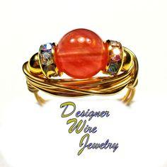 DWJ0348 Lovely Watermelon Quartz Gemstone Solitaire Gold Wire Wrap Ring