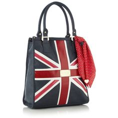 Navy Union Jack Shopper Bag ($58) found on Polyvore