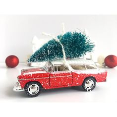 Retro Bright Red Vintage Christmas Car with Tree Decoration ($15) ❤ liked on Polyvore featuring home, home decor, holiday decorations, holiday home decor, bottle brush christmas trees, holiday decor, car interior decor and red home accessories