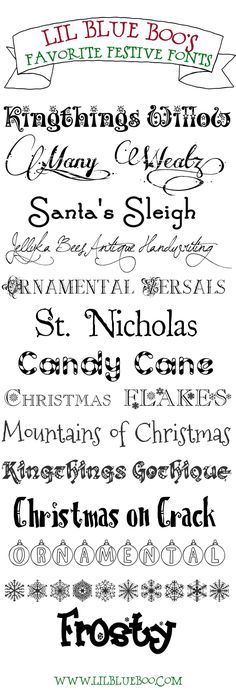 Favorite FREE festive holiday fonts! #fonts Click for links via lilblueboo.com