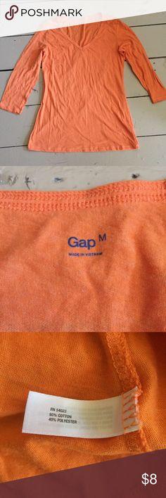[Gap] Orange Long 3/4 Sleeve V Neck Shirt Perfect for any Syracuse, Clemson, Virginia or Tennessee fan! GAP Tops Tees - Long Sleeve