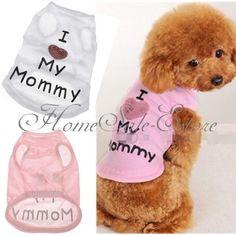 Pet Cat Dog Summer Cute Clothes Vest Shirt Coat Love MY MOMMY Heart S/M/L/XL/XXL £2.19