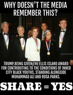 "This award is for ""patriotism, tolerance, brotherhood and diversity"" But of course he only becomes a racist when he's running against Clinton and the media brainwashes to tip the scales for Crooked Hillary."