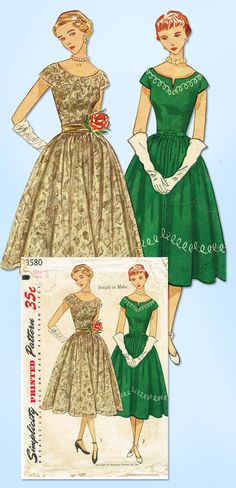 """Simplicity Pattern 3580 Misses' Cocktail Dress Pattern Simple to Make Design with Uncut Embroidery Transfer From 1951 Complete Nice Condition Comes with Uncut Transfer Envelope is a Little Worn Size 11 (29"""" Bust) We Sell the Best Original Vintage Sewing Patterns and Embroidery Transfers!"""