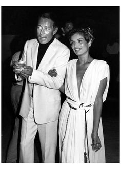 Bianca Jagger with Halston at her birthday party 1980 .Photo Ron Galella