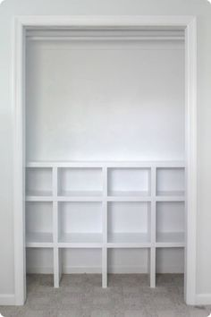 How to build cheap and easy DIY closet shelves - Lovely Etc. finished closet cubbies Learn how to build closet shelves for any closet in your home. These DIY closet shelves are inexpensive and easy to customize for any size closet. Building Shelves In Closet, Diy Closet Shelves, Playroom Closet, Craft Room Closet, Craft Closet Organization, Closet Built Ins, Build A Closet, Shelves In Bedroom, Kid Closet