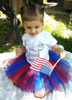 Fourth of July Minnie Mouse tee and tutu by SayitAintSewDesigns, $35.00