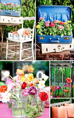 outdoor party decor - flowers in mugs, suitcases, mason jars, oh my!