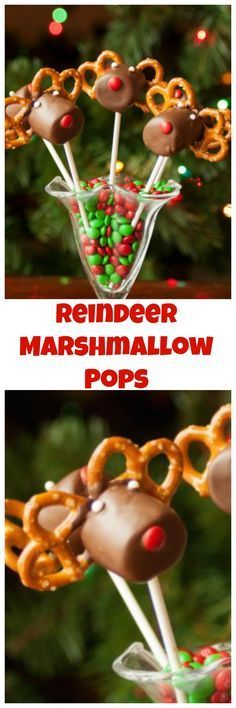 Reindeer Marshmallow Pops are the perfect combination of salty and sweet. They are a great centerpiece to any holiday party. Christmas Food Treats, Christmas Brunch, Christmas Sweets, Christmas Cooking, Christmas Goodies, Christmas Desserts, Holiday Treats, Simple Christmas, Holiday Parties