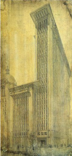 Frank Lloyd Wright: Photo : Frank Lloyd Wright design for an office tower for the 'San Francisco Call' press, 1912 Architecture Drawings, Architecture Design, Gaudi, Wisconsin, John Wright, Architecture Organique, Frank Lloyd Wright Buildings, Architect Drawing, Art Deco