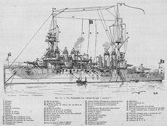 Drawing of the Danton Class Pearl Harbour Attack, German Submarines, Naval History, Royal Navy, Sardinia, Battleship, First World, Sailing Ships, World War