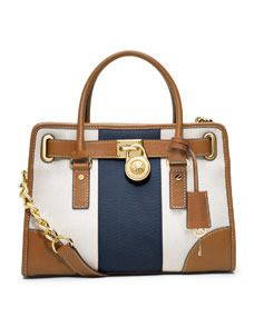 White Navy Blue And Brown Color Block Striped Canvas Satchel Bag By Michael Kors Bags Pinterest Outlet