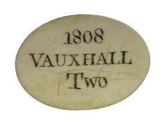 Ivory Entrance Ticket For Vauxhall. This is the pass of Lloyds Evening Post, one of London's leading evening newspapers. It admits two people to the gardens. London History, British History, Vintage London, Old London, British Architecture, Vintage Magazine, London Museums, Regency Era, Empire Style