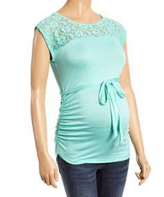Mint Lace Tie-Sash Maternity Top