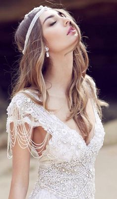 Gorgeous Anna Campbell beach wedding dress and hairstyle