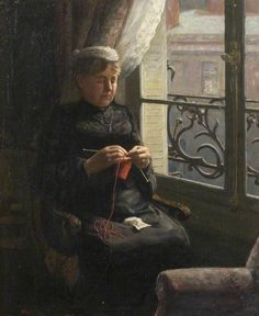 Artist's Mother Knitting in a Flat in Paris, Albert Ranney Chewett (1877–1965), Bushey Museum, Reveley Lodge