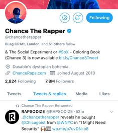 S/O @chancetherapper! Be sure to follow us on Twitter & watch like and comment on our last post!    #music #hiphop #rap #rnb #news #newmusic #video #musicindustry #chancetherapper #imightneedsecurity #chicagoist #chicago #socialmediallc #diversity #twitter #fmot