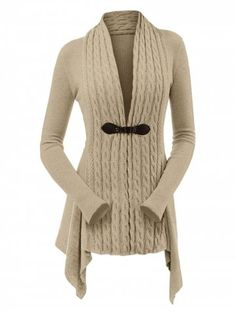 Take a look at this Khaki Cable-Knit Buckle Sidetail Cardigan - Women today! 852c53a6d